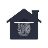 Isolated fingerprint and house design. Fingerprint and house icon. Identity security print and privacy theme. Isolated design. Vector illustration Royalty Free Stock Image