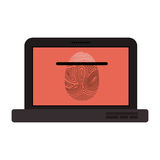 Isolated fingerprint and laptop design Stock Photography