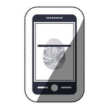 Isolated fingerprint and smartphone design Royalty Free Stock Images