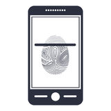 Isolated fingerprint and smartphone design Royalty Free Stock Image