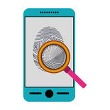 Isolated fingerprint and smartphone design Stock Image