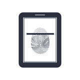 Isolated fingerprint and tablet design. Fingerprint and tablet icon. Identity security print and privacy theme. Isolated design. Vector illustration Royalty Free Stock Images