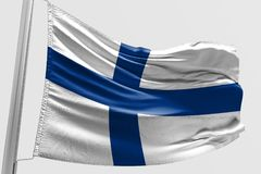 Isolated Finland Flag waving, 3D Realistic Finland Flag Rendered. Image Stock Photography