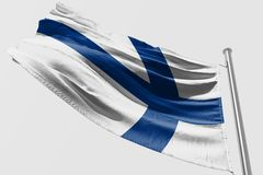 Isolated Finland Flag waving, 3D Realistic Finland Flag Rendered. Image Royalty Free Stock Photo