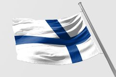 Isolated Finland Flag waving, 3D Realistic Finland Flag Rendered. Image Royalty Free Stock Images