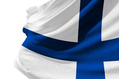 Isolated Finland Flag waving, 3D Realistic Finland Flag Rendered. Image Royalty Free Stock Image
