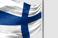 Isolated Finland Flag waving, 3D Realistic Finland Flag Rendered. Image Stock Photos