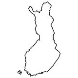 Isolated Finnish map. On a white background, Vector illustration Royalty Free Stock Image