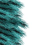 Christmas fluffy tree template. Isolated fir banner background. Xmas mock up vector illustration. Happy new Year poster frame decoration. Festive greeting border Royalty Free Stock Photos