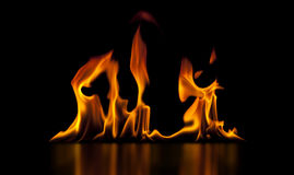 Isolated Fire on Black Stock Photo