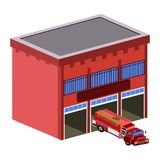 Isolated fire station. 3d view of a fire station, Vector illustration Royalty Free Stock Photo