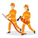 Isolated firefighters couple. Isolated firefighters couple with axe and hose on white background Stock Photography