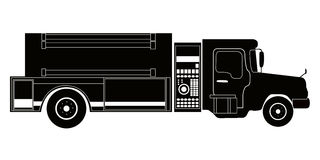 Isolated firetruck silhouette. Isolated silhouette of a firetruck, Vector illustration Royalty Free Stock Photo