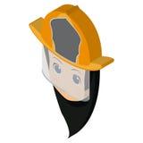Isolated firewoman avatar Stock Photography