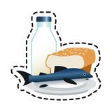 Isolated fish bread and milk design. Fish bread and milk icon. Healthy organic fresh and natural food theme. Isolated design. Vector illustration royalty free illustration