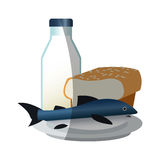Isolated fish bread and milk design. Fish bread and milk icon. Healthy organic fresh and natural food theme. Isolated design. Vector illustration vector illustration