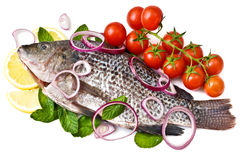 Isolated fish with cherry and lemon