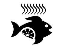 Vector lemon fish logo or icon design. Isolated Fish icon or logo vector design silhouette on white background Stock Photo