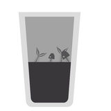 Isolated fish inside dirty water glass design. Fish inside dirty water glass icon. Pollution environment and ecology  theme. Isolated design. Vector illustration Stock Image