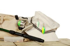 Isolated fishing equipment on a dock Royalty Free Stock Image