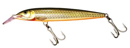 Isolated fishing lure. Large musky lure isolated on white background stock photos