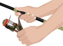 Reel. Isolated fishing reel and hands of angler stock illustration