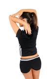 Isolated fitness girl. Isolated brown hair fitness woman stock photo
