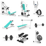 9 isolated fitness parts. 3D illustration with  9 fitness devices Royalty Free Stock Image