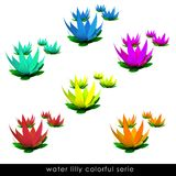 Isolated five colorful waterlilly blossom groups Stock Photo