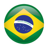 Isolated flag of Brazil. On a button, Vector illustration Stock Photos