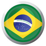 Isolated flag of Brazil. On a button, Vector illustration Royalty Free Stock Images