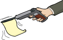 Isolated Flag in Gun. Isolated cartoon of flag firing from gun Royalty Free Stock Photo