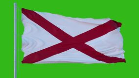Isolated flag of United States Alabama on flagpole fluttering in wind, 3d rendering