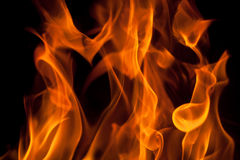 Isolated Flame On Black Stock Photography