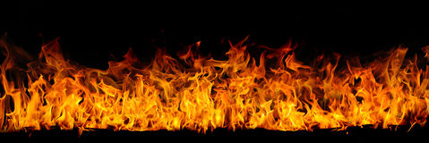 Isolated Flame On Black Royalty Free Stock Photos