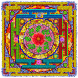 Isolated floral Buddha's square mandala Royalty Free Stock Photography