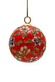 Isolated Floral Christmas Bauble with Clipping Pat Stock Image