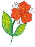 Isolated flower. Red abstract isolated flower. illustration Royalty Free Stock Image