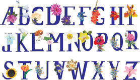 Isolated flower alphabet Royalty Free Stock Photos