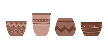 Isolated flower pot on white background. Vector set of ceramic pot in flat trendy style with ornament. Clay terracotta vase for