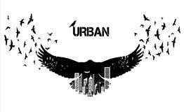 Isolated Flying raven silhouettes with double exposure effect. Urban city as background Royalty Free Stock Images