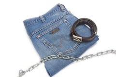 Isolated folded jean Stock Photo