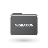 Isolated folder signal with  the text MIGRATION. Illustration of an isolated folder signal with  the text MIGRATION Royalty Free Stock Photography