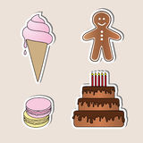 Isolated food objects set Stock Images