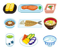 Isolated food set for Japanese breakfast Royalty Free Stock Photos