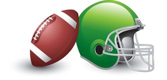 Isolated football and helmet. Football leaning against a green football helmet Stock Image