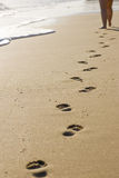Isolated Footprints along the beach. A set of isolated footprints with the bottom of the womans legs visible and the ocean waves also visible Royalty Free Stock Photos