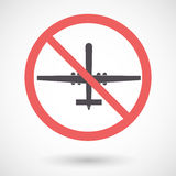 Isolated forbidden signal with a war drone Royalty Free Stock Photography