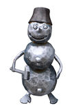 Isolated forged metal snowman with a hammer on a white backgroun Stock Photography