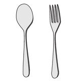 Isolated Fork and Spoon Cartoon Drawing. Illustration of Isolated Fork and Spoon Cartoon Drawing. Vector EPS 8 Stock Photography